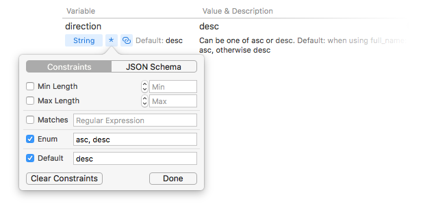 Request variables with JSON Schema constraints in Paw HTTP Client