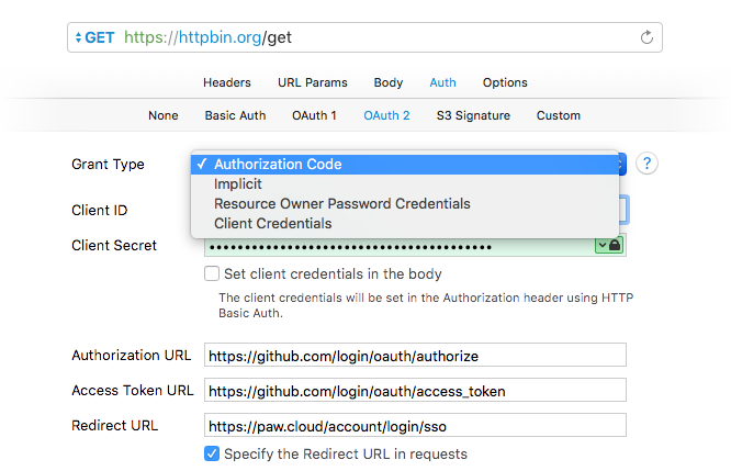 OAuth 2 Authentication with Paw